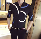 New Men's Stylish Summer Slim Fit Mod Button Down Casual Shirt Top Black White