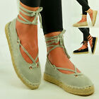 Womens Ladies Flatform Ankle Lace Up Espadrille Sandals Casual Shoes Size Uk 3-8