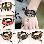 Fashiom Women Men Punk Cross Leather Beads Bangle Chain Cuff Bracelet