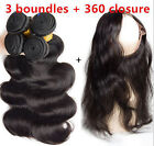 8A Brazilian Body Wave  Human Hair 3 Bundles/150g with 360 Lace Frontal Closure
