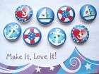 SET OF 4 or 8 NAUTICAL BUTTONS 2 Hole 20mm Red Blue Stars Heart Anchor Boat Wood