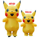 Adult kids Mascot Pikachu Inflatable Costume Cosplay Masquerade Funny Dress suit