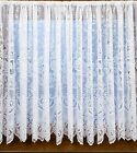 606 VICTORIAN LACE EFFECT THICK HEAVY WHITE NET CURTAIN ROSE DAMASK FLORAL LOOK