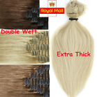Real Thick 160g+ Full Head Clip In Remy Human Hair Extensions Double Wefted A054