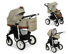 LASER CASUAL Eco-Leather Details Baby Pram Buggy Car Seat Travel Set 3in1 New
