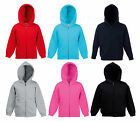 KIDS BOYS GIRLS HOODED TOP FULL ZIP FRUIT OF THE LOOM CLASSIC HOODED SWEAT NEW