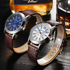 Fashion Mens Leather Silver Plated Quartz Watch Waterproof Party Wristwatch