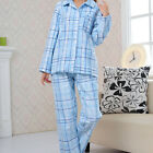 Pyjamas Ladies Winter Flannel 2 pc Pjs Set Blue Cheques Sz 8 10 12 14 16