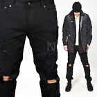 NewStylish mens fashion bottoms pants Heavily distressed black slim jeans