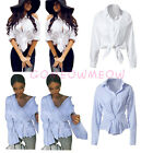Womens Cold-Shoulder White T-Shirt Long Sleeve Stripes Tie Knot Blouse Tee Tops
