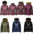 Ladies Wet Look Shiny Puffer Quilted Fur Hooded Womens Bubble Jacket Coat Top