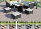 Modular Rattan Corner Garden Furniture Set Cube Dining Table + Free Cover