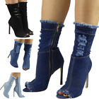 Womens Ladies High Ankle Long Mid Calf Denim Peeptoe Stiletto Heel Boots Size