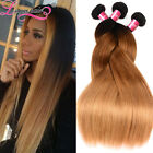 7A Peruvian Straight Human Hair Bundles Black to Blonde Ombre Color Hair Weave