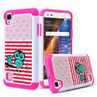 Shockproof Hybrid Rubber Case Armor Hard Phone Cover for LG Tribute HD LS676