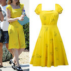 2017 New Women Ladies Fashion Floral Spring Summer Yellow Floral Swing Dress