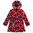 Disney Store Deluxe Red Minnie Mouse Rain Jacket Blue Pol...