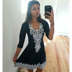 Women Summer Lace Long Sleeve Party Evening Cocktail Short Mini Dress V Neck