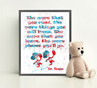 DR SEUSS Print Poster Watercolor Framed Canvas Wall Art Nursery Illustration