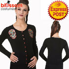 RKN18 Banned 50s Sugal Skull Day of Dead Pin Up Cardigan Top Retro Rockabilly
