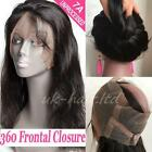 8A 360 Lace Band Frontal Closure Brazilian Virgin Human Hair Straight Wavy F48