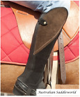 Black Suede Leather Comfort Gaiters with Brown Suede Feature Panel