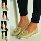 New Womens Glitter Flat Ballet Loafers Ladies Tassel Pumps Slip On Shoes Size Uk