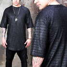 NewStylish mens tops short sleeves Crocodile patterned black round hem t-shirts