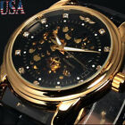 Luxury Men Watch Transparent Steampunk Skeleton Mechanical Leather Watch US SHIP