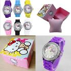Hello Kitty Wrist Watch Silicone Band And Rhinestones With Gift Box