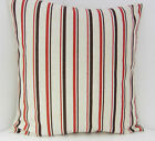 NEW STYLISH SCATTER COVERS OATMEAL RED STRIPED CUSHION COVERS SAME BOTH SIDES