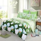 4pcs 3D Printed Bedding Set White Tulip Bed Sheet Cover Queen/King Size New U2F3