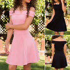 Womens Girl Casual Off the Shouler Bodycon Evening Cocktail Short Party Dresses