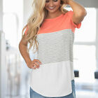 Fashion Women Casual Short Sleeve Tops Shirt Ladies Loose T-shirt Striped Blouse