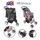 Dog Pet Puppy Cat Travel Stroller Pushchair Jogger Buggy Swivel 3 / 4 Wheels UK