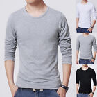 New Men's Slim Fit Long Sleeve Shirt T-shirts Tee Tops Blouse Solid Color