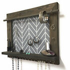 Jewelry Organizer - Wall Hanging Barn Wood Earring Necklace Storage Holder
