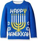 NEW Boys Happy Hanukkah Sweater Menorah Blue Ugly Christmas Jewish Menora NWT