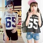 Stylish Ladies Women O-neck Letters Print Striped Loose Casual Short Tops LM01