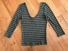 Express One Eleven Gray Black Striped Ribbed Rayon 3/4 Sleeve Scoop Top XS M