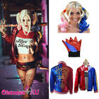 Ladies Harley Quinn Harlequin Suicide Squad Jacket T-shirt Costume Wig Gloves