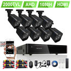 8CH Channel 1080H HDMI 2000TVL Security Cameras H.264 DVR System 500GB/1TB HDD