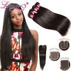 Peruvian Virgin Hair 4 Bundles With Closure 100% Unpocessed Straight Human Hair