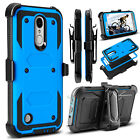 For LG Rebel 2/Phoenix 3/Fortune Holster Hybrid Armor Shockproof Hard Case Cover
