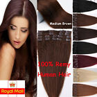 UK Standard 100% Real Clip In Human Hair Extensions Remy Hair Full Head Blonde