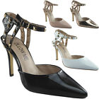 Womens Ladies Studded Ankle Strap High Stiletto Heels Pointed Party Shoes Size