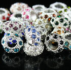 5Pcs Czech Crystal Silver Gold Big Hole Spacer Charm Beads for European Bracelet