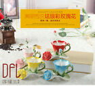 3D Rose Enamel Coffee Mug Tea Milk Cup Spoon Creative Ceramic Bone China Gift