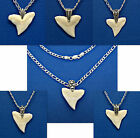 """1"""" BULL SHARK TOOTH 925 Sterling Silver Figaro Necklace Chain 16""""-18-20-24-30"""""""
