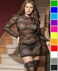 New Coquette 7015X Plus Size Long Sleeve Stretch Lace Mini Dress